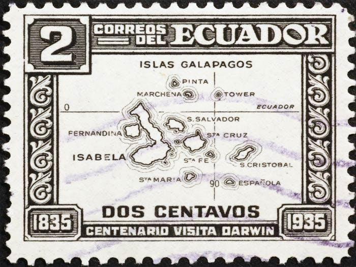 galapagos stamp map