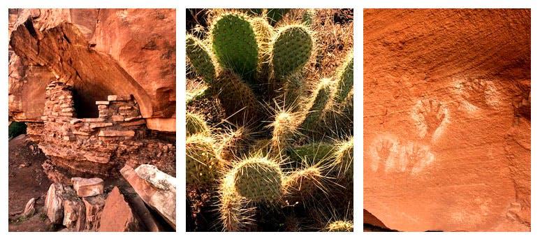 Puebloan Granary, Prickly Pear Cactus, Rock Markings, Cataract Canyon, Utah