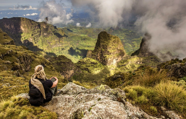 hiker in simien mountains