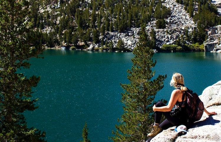 hiker at lake