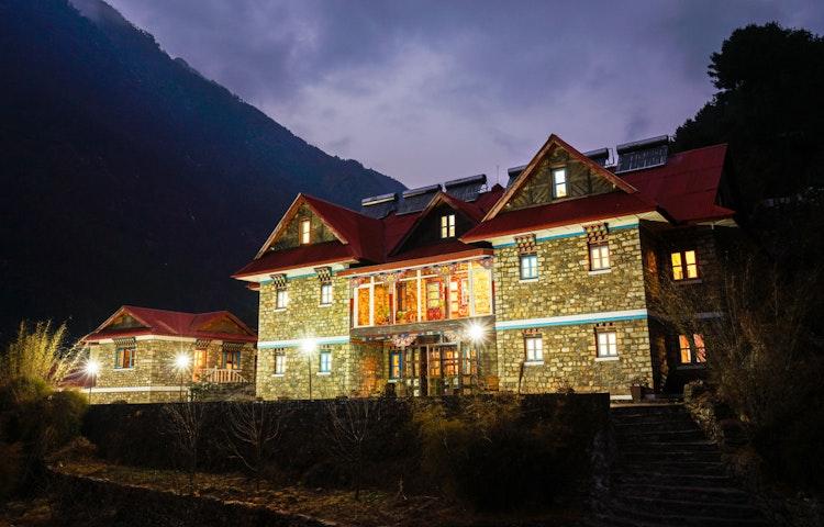 monjo lodge at night - Nepal Everest Base Camp Trek