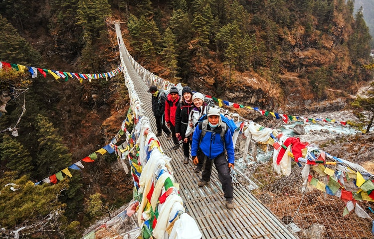 trekkers on bridge - Nepal Everest Base Camp Trek