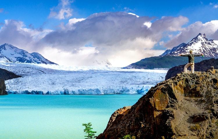 hiker at grey glacier