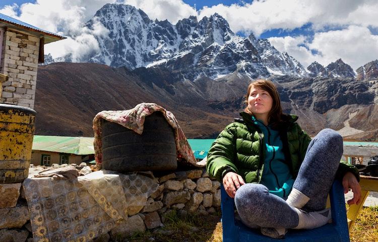 relaxing at tea house - Nepal Ancient Passes Trek