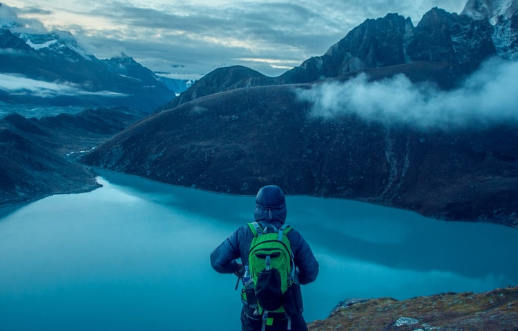 early morning hiker - Nepal Ancient Passes Trek