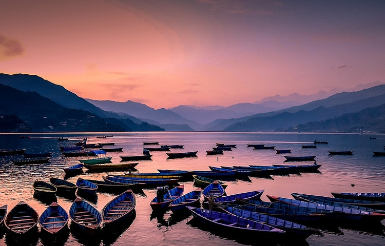 lake phewa sunset