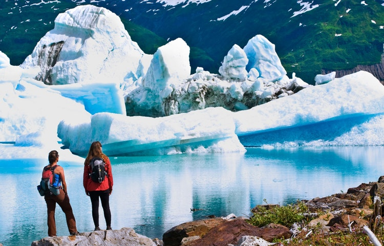 two women and icebergs