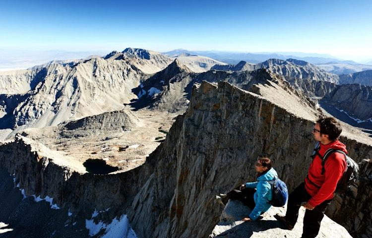 couple on summit - California John Muir Trail Southbound to Mt. Whitney Trek