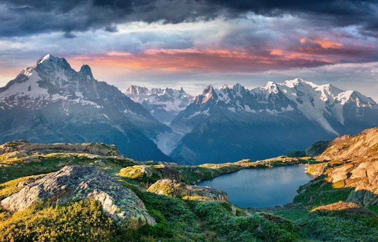 lac blanc sunset - Alps Tour du Mont Blanc Hiking