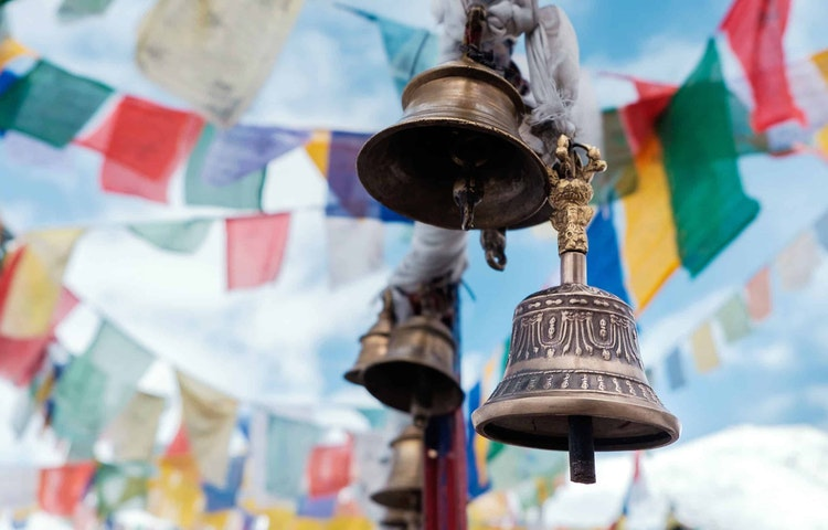 bells and flags - Hiking in Nepal: Everest Lodge-to-Lodge Trek