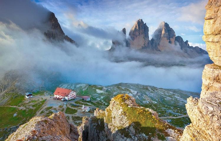 misty tre cime morning