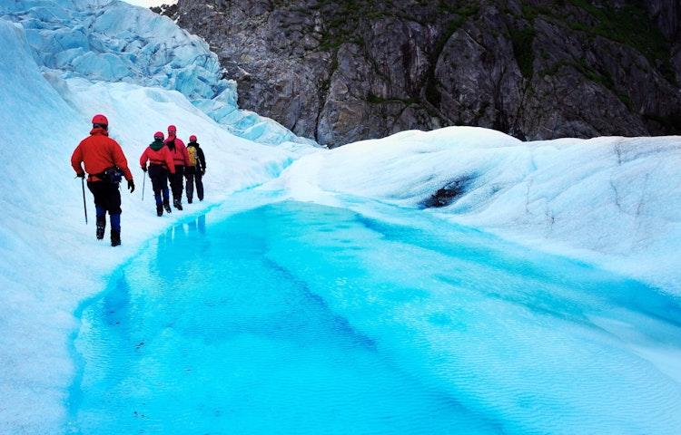 glacier hikers