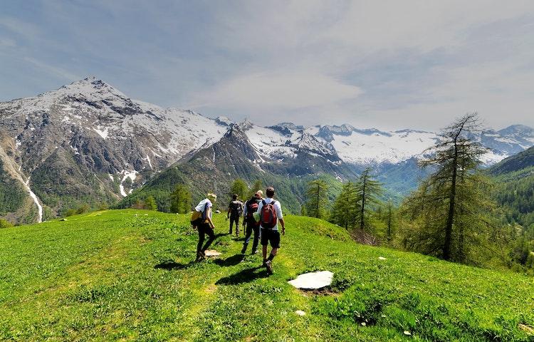hikers on ridge - Alps Tour du Mont Blanc Hiking