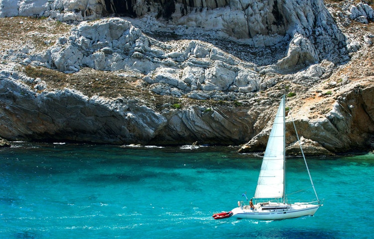sailboat in calanques - France Provence Village to Village Hiking