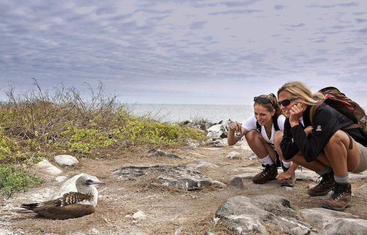 mom, daughter and birds - Ecuador Galapagos Island Family Adventure Cruise