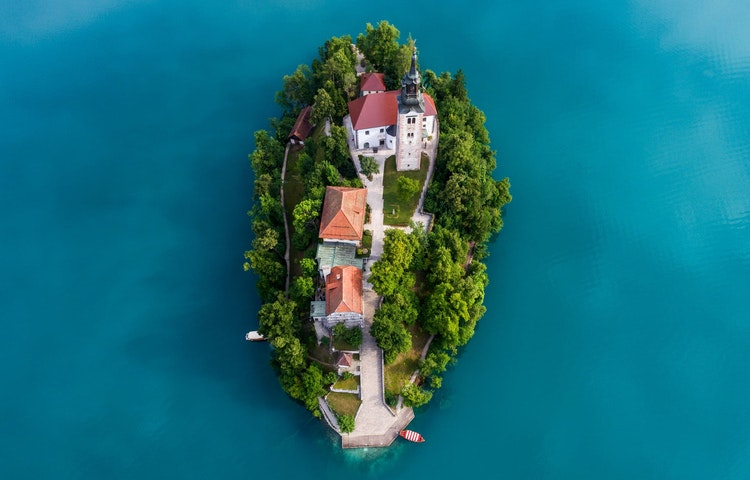 bled island from above